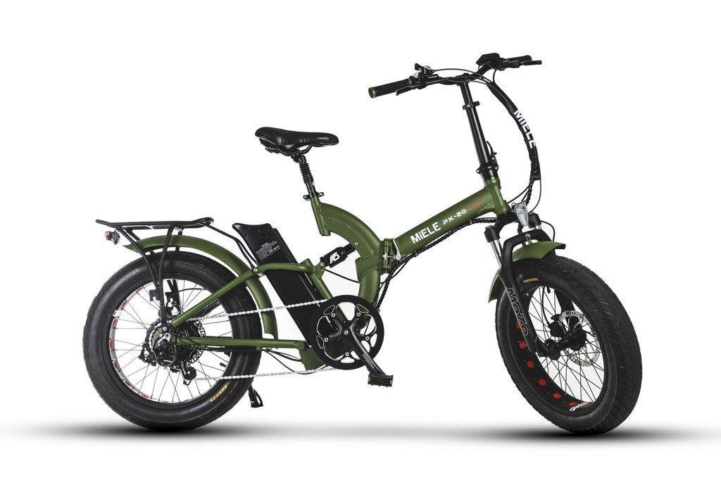 Bici Pieghevole Elettrica Miele Px 20 Fat S Verde Opaco Potente Motore 48v Potenza Da 250w E 500w Stesso Prezzo Freni A Disco Idraulici Batt