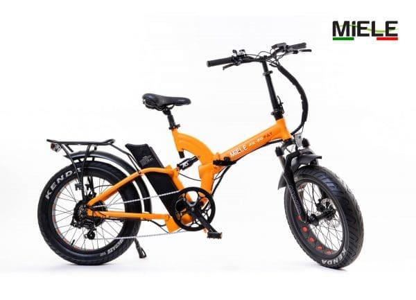 bici pieghevole elettrica arancio