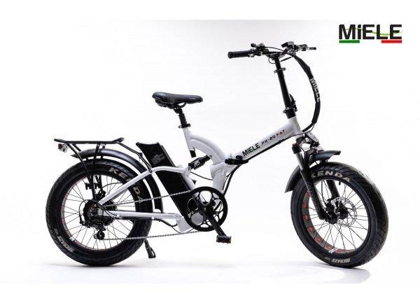 bici pieghevole elettrica elettrica bianca